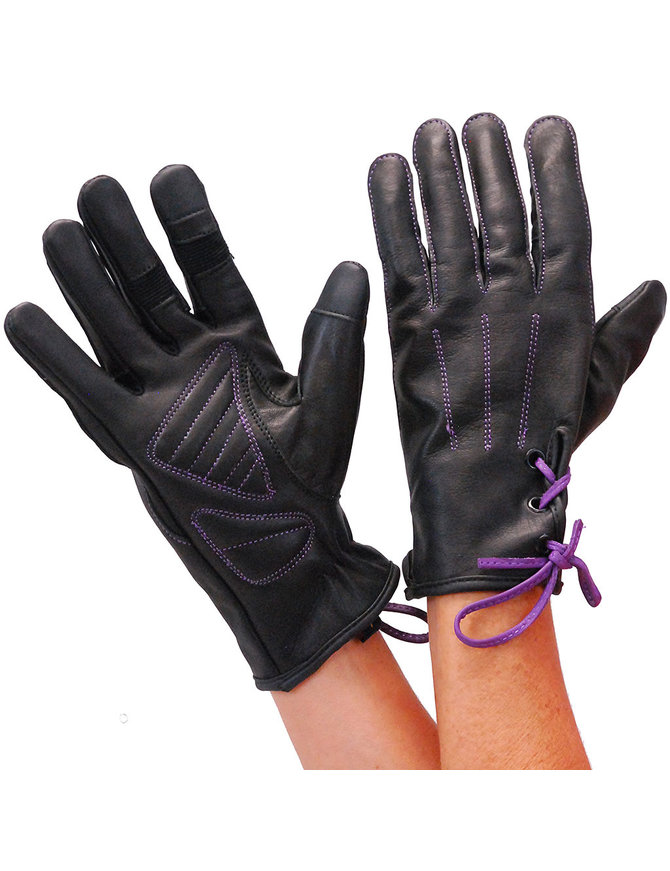 Milwaukee Women's Purple Lace-Up Leather Gloves #GL777106PU