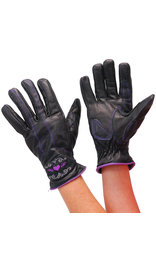 Unik Women's Purple Heart Leather Gloves #GL814417PU