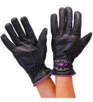 Unik Women's Purple Heart Leather Gloves #GL814417PU