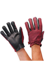 First MFG Oxblood/Black Leather Vented Motorcycle Gloves #GM218VBG