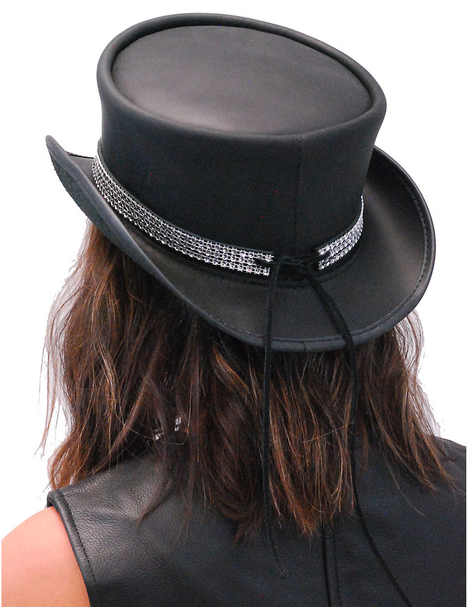 Crystal Band Black Leather Top Hat #H56505KCRY