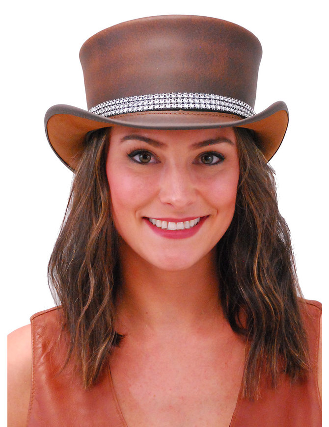 Crystal Band Brown Leather Top Hat #H56515NCRY