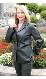 Black Lightweight Women's Button Up Leather Coat #L30BTK (S only)