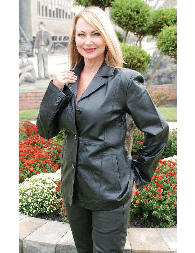 Black Lightweight Women's Button Up Leather Coat #L30BTK