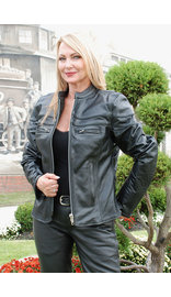 Unik Tapered Vented Scooter Leather Motorcycle Jacket for Women #L162NZ (S-2X)