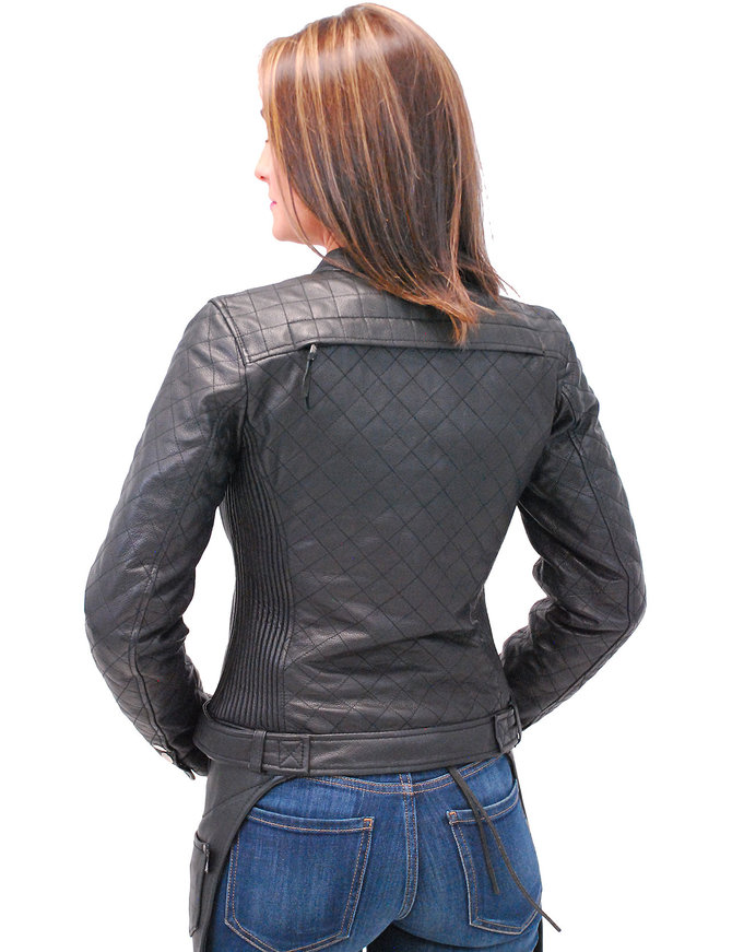 First MFG Form Fitting Women's Quilted Motorcycle Jacket #L1150QZK