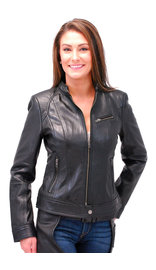 First MFG Women's Black Lambskin Leather Scooter Jacket #L10250K