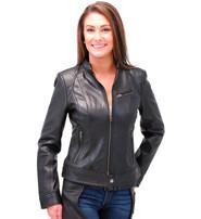 First MFG Women's Black Lambskin Leather Scooter Jacket #L10250K
