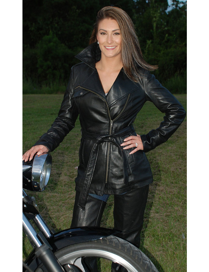 First MFG Women's 3/4 Belted Naked Leather Motorcycle Jacket #L10870BTZK
