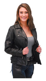 Daniel Smart Women's Black Leather CCW Motorcycle Jacket #L83500ZGVK