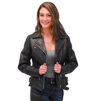 Daniel Smart Women's Black Leather CCW Motorcycle Jacket #L83500ZGVK
