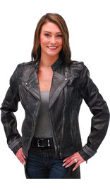 Milwaukee Women's Vintage Black Studded Motorcycle Jacket #LA28400SK