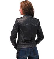 Milwaukee Women's Vintage Black Studded Motorcycle Jacket #LA28400SK