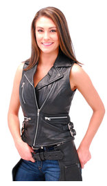 First MFG Women's Sleeveless Motorcycle Jacket/Vest #LS5100K (S-2X)