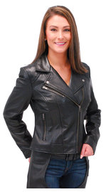 First MFG Women's Super Soft Lambskin Motorcycle Jacket #L15070K