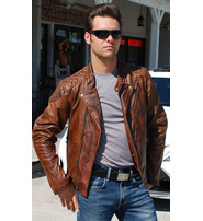 Men's Vintage Brown CCW MC Jacket with Quilt #MA521GN