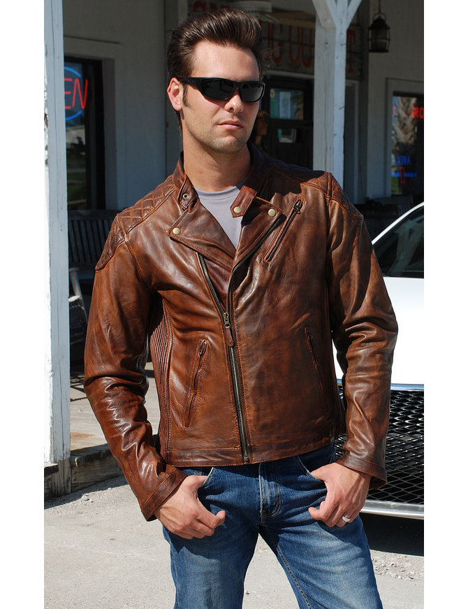 Vance Men's Vintage Brown CCW MC Jacket with Quilt #MA521GN