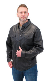 Lightweight Snap Up Leather Shirt #MS777P
