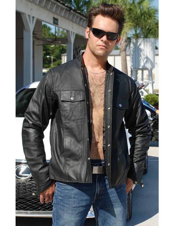 No Collar Men's Lightweight Leather Shirt #MS442K