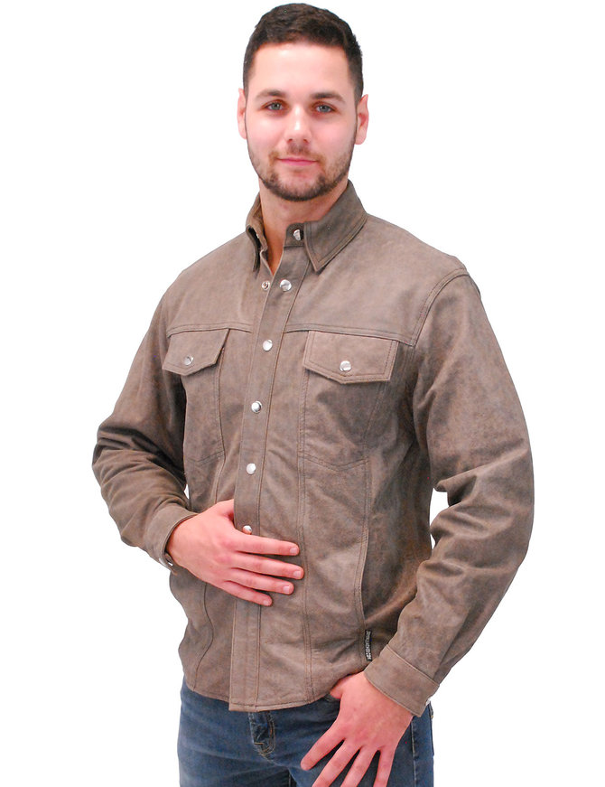 Jamin Leather Light Brown Men's Leather Shirt #MSA9013GN