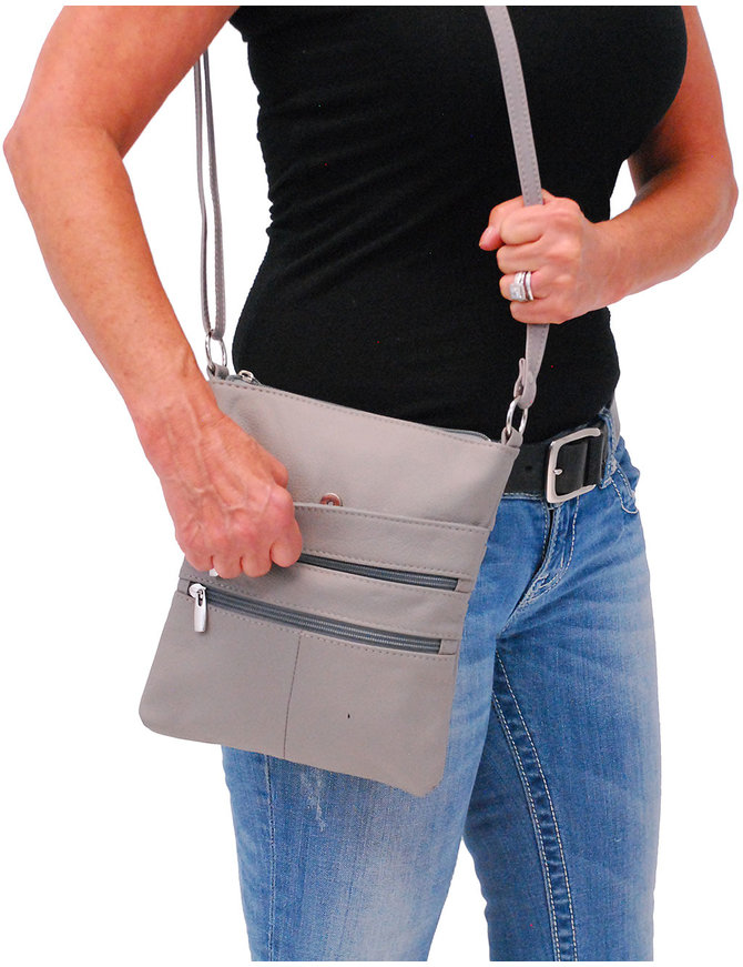 Large Gray Leather Cross Body Purse #P0112GY