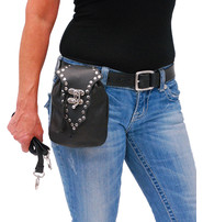 Studded Hip Clip Purse with Swing Latch #P8856RK