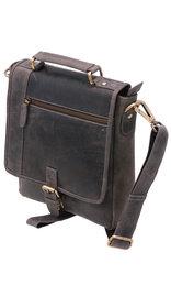 Vintage Black 9x10 Satchel Purse w/Buckle Flap #P163260K