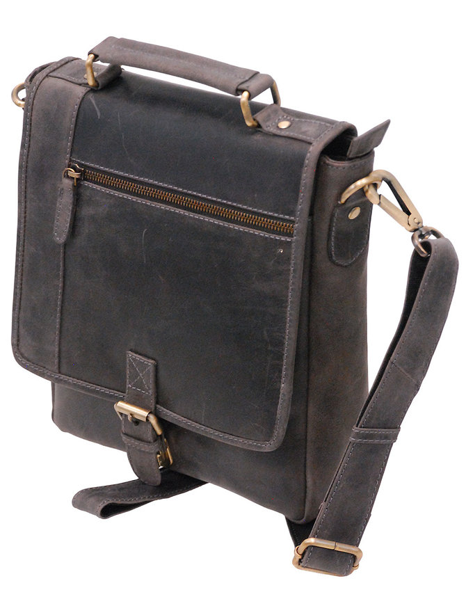Vintage Black 9x10 Satchel Purse w/Buckle Flap #P163260K