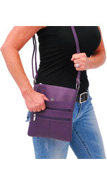 Large Purple Leather Cross Body Purse #P0114PUR