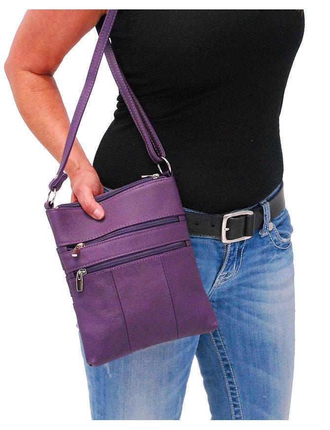 Large Purple Leather Cross Body Purse #P0114PUR