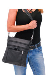 Jumbo Black Leather Cross Body iPad Purse #P6030K