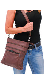Jumbo Brown Leather Cross Body iPad Purse #P6031N