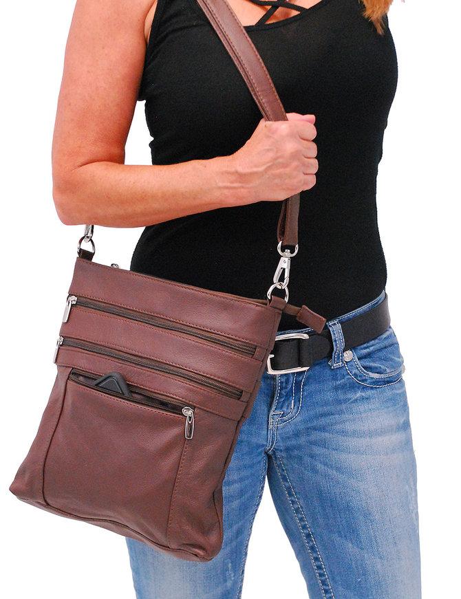 Jumbo Brown Leather Cross Body iPad Purse #P6031N