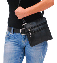 Small Black Lambskin Leather Cross Body Purse #P760K