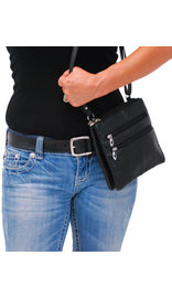 Small Black Lambskin Leather Cross Body Purse #P760K