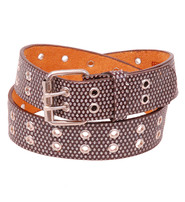 Brown Shimmer Double Prong Leather Belt - SPECIAL #BTBW10771N