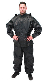 Black Rain Suit with Reflector Trim - 2 pc Set #RS1039K