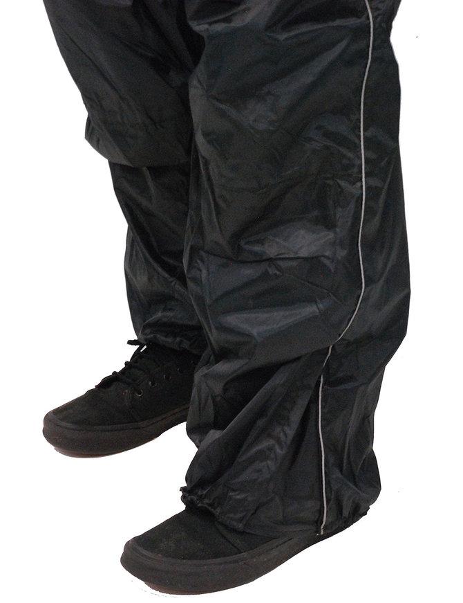 Black Rain Suit with Reflector Trim - 2 pc Set #RS1039K