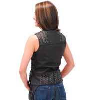 Daniel Smart Women's CCW Black Leather Vest w/Side & Back Lace #VL285XLGK