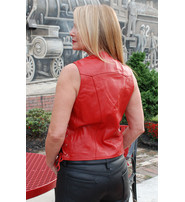 Red Leather Women's Vest w/Side Lace #VL3393LRED