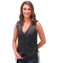 Unik Women's Heavy Leather Side Lace Leather Zip Vest #VL3990ZLK