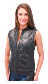 First MFG Ladies Lambskin Leather CCW Zip Club Vest #VL5130GZK (S-2X)