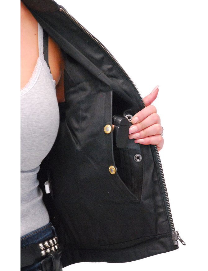 First MFG Ladies Lambskin Leather CCW Zip Club Vest #VL5130GZK
