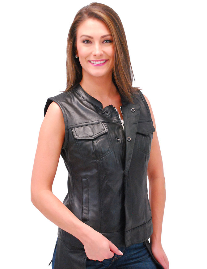 First MFG Ladies Lambskin Leather Club Vest w/Easy Access CCW #VL5160ZGK