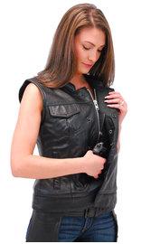 First MFG Ladies Lambskin Leather Club Vest w/Easy Access CCW #VL5160ZGK (S-5X)