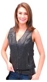 Women's Double Side Buckle Black Zip Vest CCW #VL10370GVK