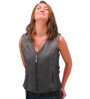 Vance Women's Gray Double Side Buckle Zip Vest CCW #VL10372GVGY