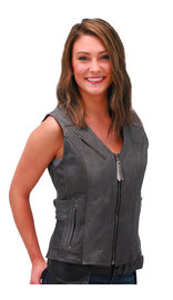 Women's Gray Double Side Buckle Zip Vest CCW #VL10372GVGY