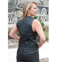 Jamin Leather Women's Studded Leather Vest w/Hooks #VL11014HSK