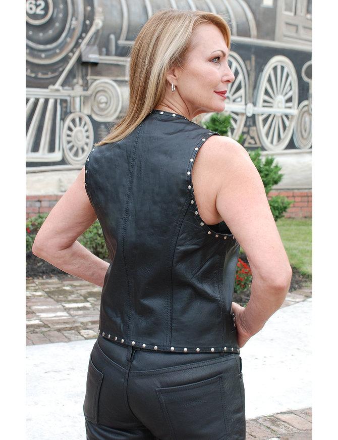 Jamin Leather Women's Studded Leather Vest w/Hooks #VL11014HSK